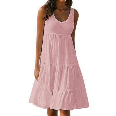 Womens Holiday Summer Solid Sleeveless Party Beach Dress