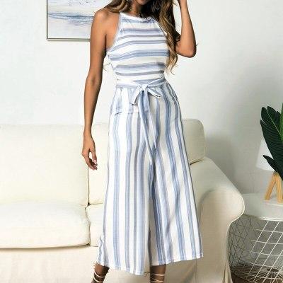 Summer Stripe Jumpsuit Wide Long Pants Casual Work Romper