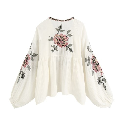 Floral Embroidery Long Sleeve Women shirts vintage beige cotton Tassel Loose Blouse