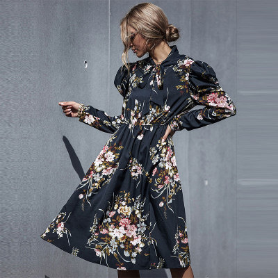 Autumn Elegant Fashion Slim Floral Dress High Wasit Butterfly Sleeve Black Dress