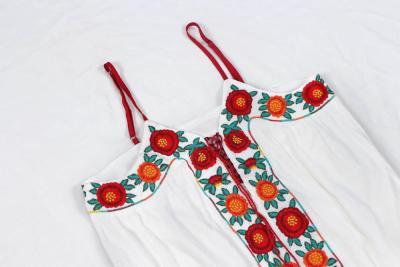 Boho maxi dress Vintage cotton floral embroidered white dresses strap women Robe