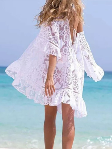 Ladies Beach Dresses Floral Lace Mini Dress