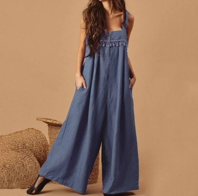 Summer new style embroidery tassel jumpsuit retro cotton and linen jumpsuit