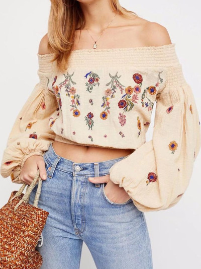 Short Boho blouse floral Embroidery sexy off shoulder summer blouse long sleeve