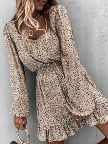 Square Collar Backless Mini Dress Long Sleeve Ruffle Vintage Women Floral Party Dress