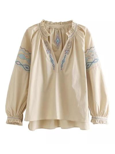 Cotton blouse autumn Ethnic floral Embroidery long lantern Sleeve blouses