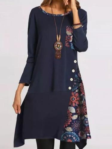 Geometric Round Neckline Women Midi A-line Dress Long Sleeve Dress