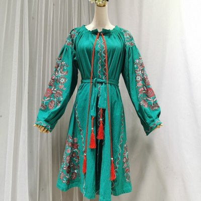 Long sleeve midi tunic dresses green floral embroidery vintage dress