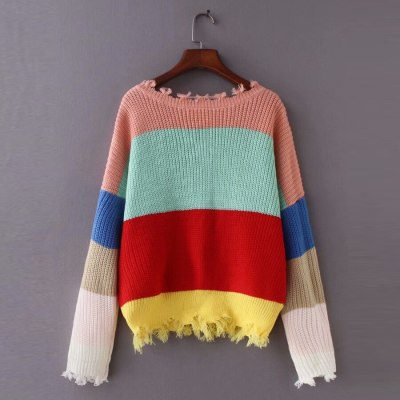 short stripe long sleeve pullovers sexy deep v-neck loose knitted women sweaters