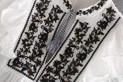 Butterfly sleeve v neck Sequin flower embroidery white cotton casual blouses