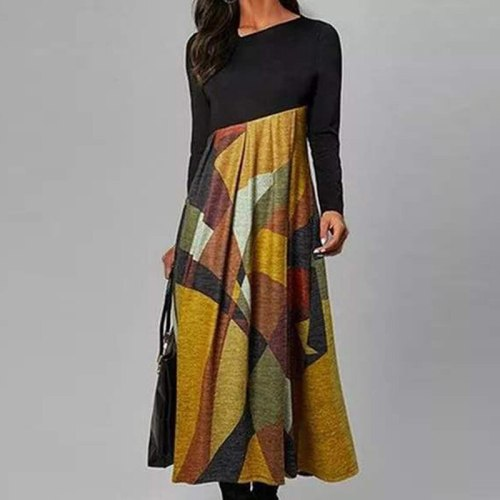 Autumn Winter Retro Print Party Dresses Cross V-Neck Long Sleeves Slim Midi Dress