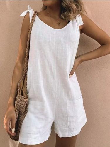 Pure color cotton and linen patch pocket fashion jumpsuit