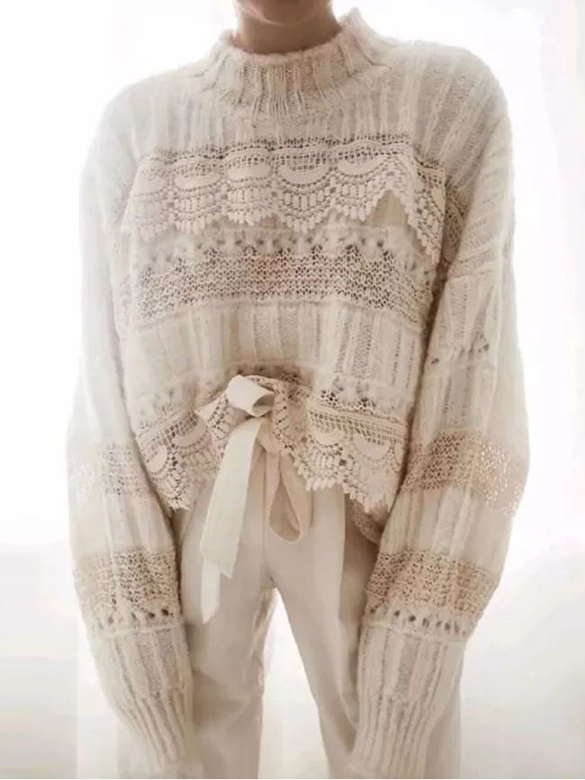 Lace sweater oversize pullover sweater Autumn winter warm knit women sweaters
