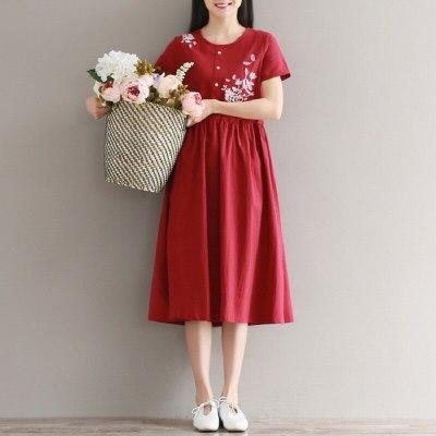Summer Women Floral Dress Cotton Linen Short Sleeve Floral Embroidery Elegant Midi Dress