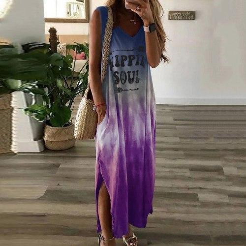 NEW Tie-dye Long Dress Ladies Fashion Sexy Beach Dress Women Casual Dress