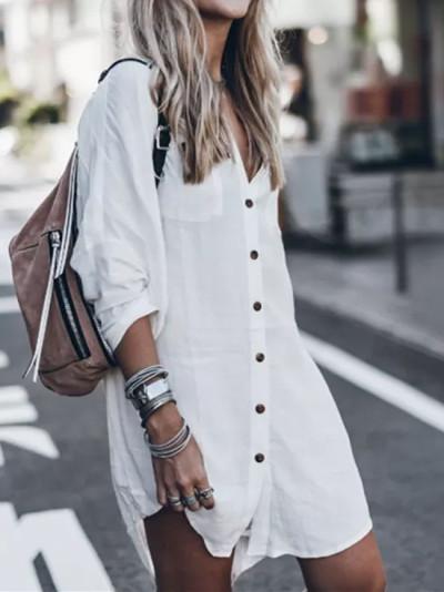 Womens Shirt Dress Black&White Vintage Tunic Summer Casual Loose Solid Beach Sundress
