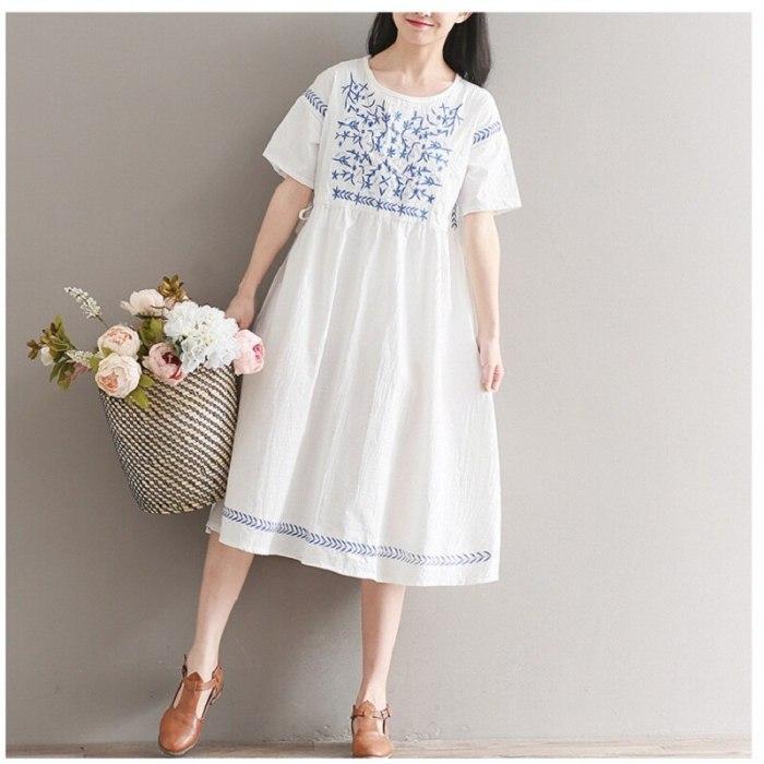 Embroidery Dress Round Neck Casual Loose Short Sleeve Cotton Linen Women Dress
