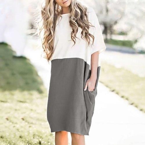 Women Casual Loose Dress Linen Patchwork Half Sleeve Solid Button Splice Pocket Dress