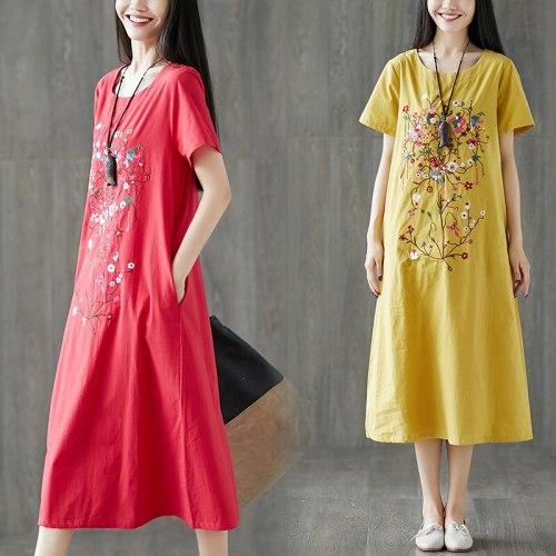 Short Sleeve Loose Summer Dress Soft Cotton Linen Fashion Embroidery Floral Women Casual Dress