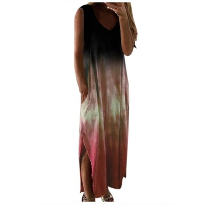 Women Fashion Casual Tie-dye Print Sleeveless Dress V-neck Pocket Long Dress