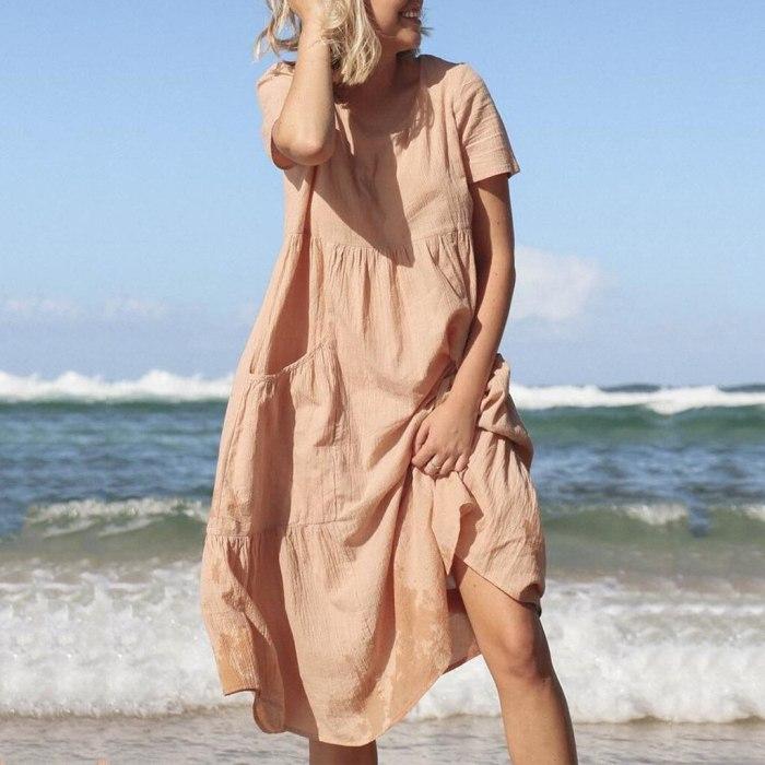 Women O-Neck Short Sleeve Pockets Cotton Linen Loose Beach Casual Dress