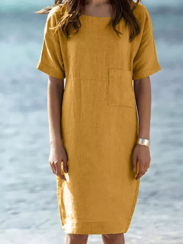 Womens Summer Dress Short Sleeve Cotton And Linen Dress Pocket Dresses