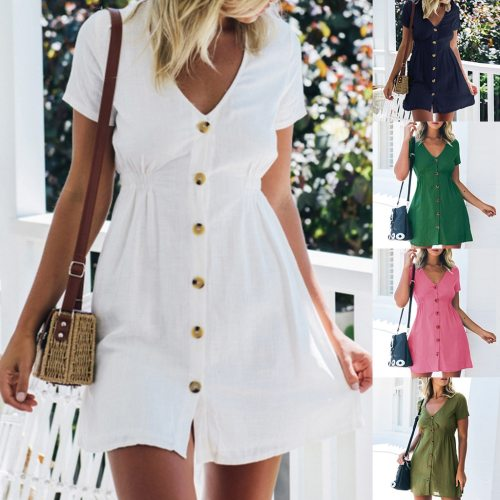 Womens Holiday V Neck Solid Dress Summer Beach Party Dress
