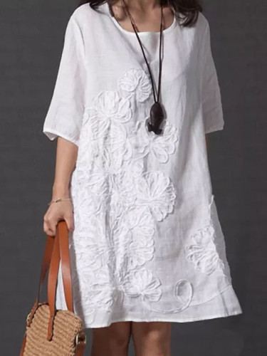 Women's Embroidery Midi Dress Half Sleeve O-neck Loose Solid Dresses