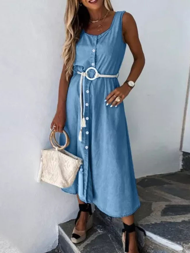 Vintage Casual Sundress Female Beach Dress Long Dress Sexy Jean Dress