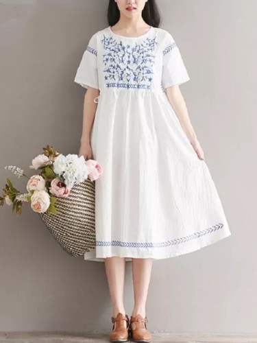 Embroidery Dress Round Neck Casual Loose Short Sleeve Cotton Linen Women Dress