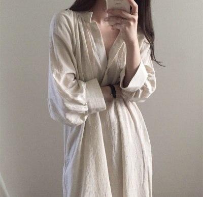 Soft Cozy Cotton Linen Wrinkled Autumn Dress V-neck Vintage Shirt Long Dress
