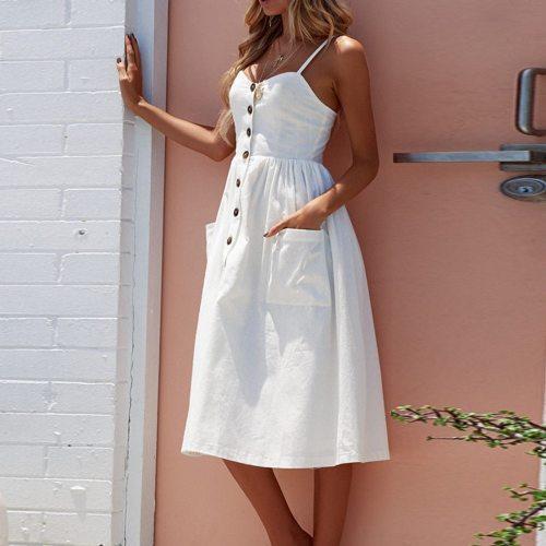 Women Summer Sexy Buttons Solid Off Shoulder Sleeveless Dress Princess Dress