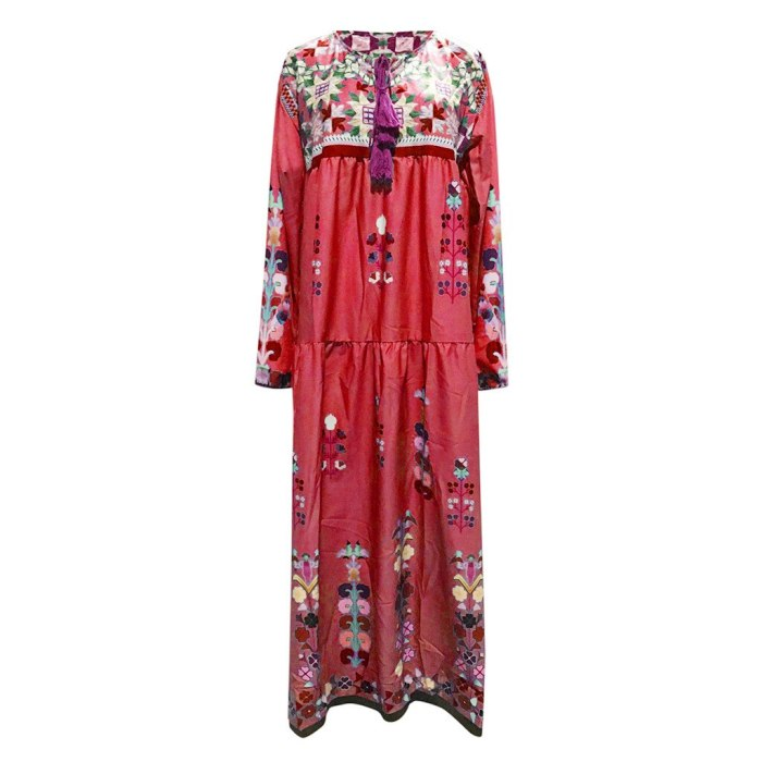 Women Casual loose Long Sleeve Floral dresses boho style Cotton linen Maxi Dress