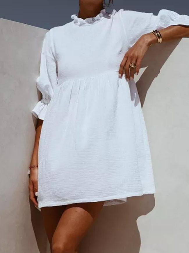 Women Ruffles Elastic Waist Loose Straight White Mini Dresses Half Sleeve Shirt Dress
