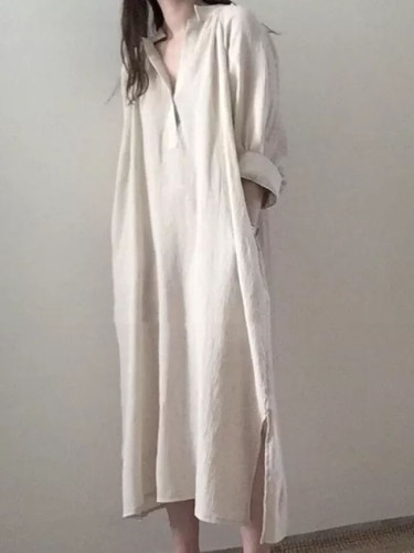 Soft Cozy Cotton Linen Wrinkled Autumn Dress V-neck Vintage Shirt Long Dress