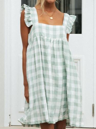 Women's Plaid Casual Dress Loose Mini Beach Boho Dress