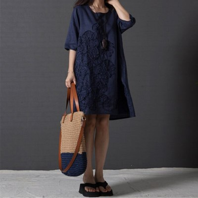 Women's Embroidery Midi Dress Half Sleeve O-neck Loose Solid Dresses