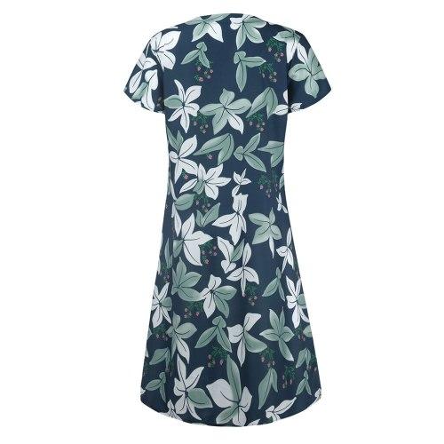 Women Short Sleeve Cotton Linen Dress Vintage V-neck Floral Printed Sundress