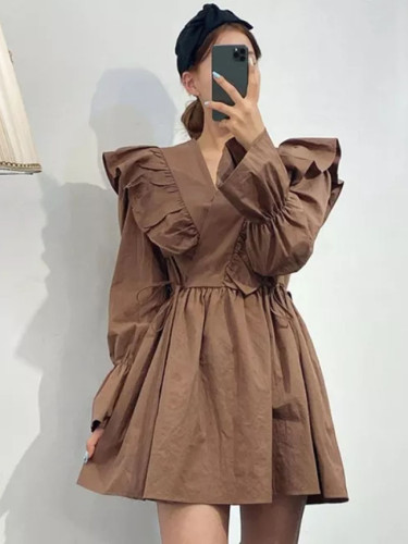 Sweet Long Sleeve V-Neck Flare Sleeve Dresses Ruffles Ladies Shirt Dress