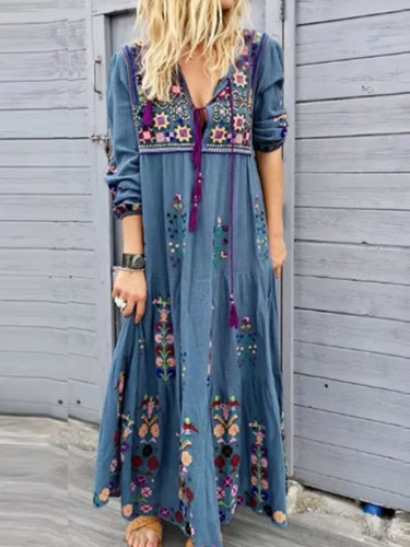 Women Casual loose Long Sleeve Floral dresses boho style Cotton linen Maxi Dress
