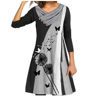 Elegant Dresses For Women's Loose Print Stitching Button Double-layer Collar Long-sleeved Dress