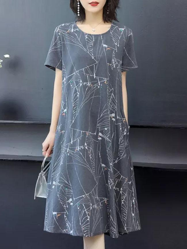 Fashion Casual Women O-Neck Short Sleeve Long Dress Ladies Printed Loose Dress