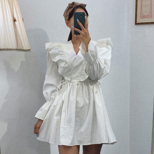 Sweet Long Sleeve V-Neck Flare Sleeve Dresses Ruffles Ladies Shirt Dress