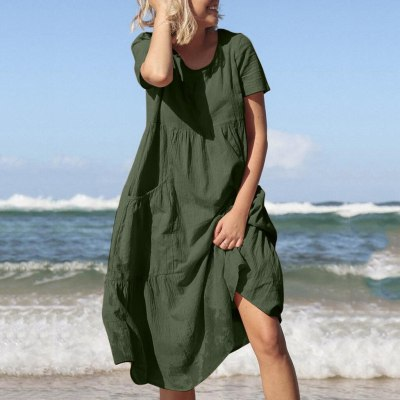 Women O-Neck Short Sleeve Pockets Cotton Linen Loose Beach Casual Dress
