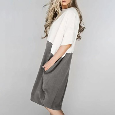 Women Casual Loose Dress Linen Patchwork Half Sleeve Solid Button Splice Pocket Dress