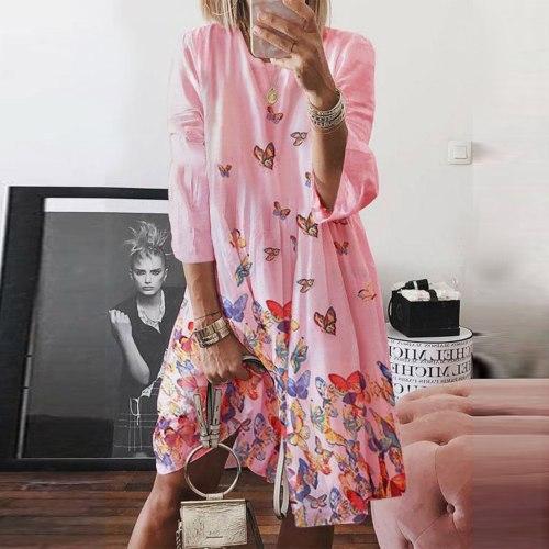 Women  Holiday Style Feminino Print Casual Plus Size Ladies Dress