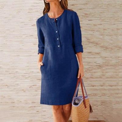 Fashion Women Summer Round Neck Solid Long Sleeve Pocket Dress