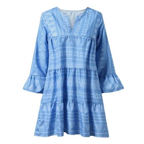 Geometry Print Mini Dress Women Sexy V-neck Long Flare Sleeve Loose Dress