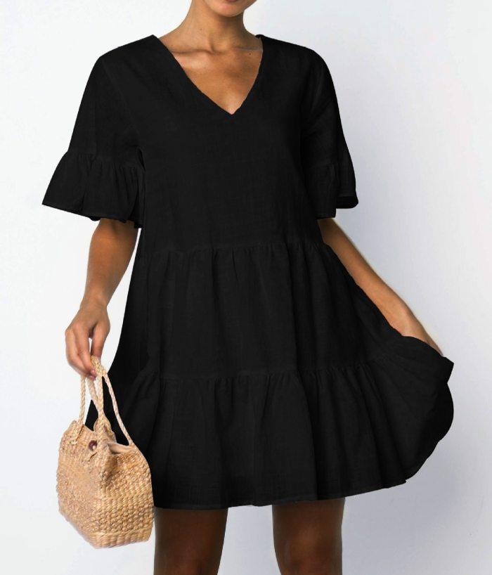 Beachwear Short Sleeve White Ruffled A-line Mini Dress Women Dress Sexy Dress