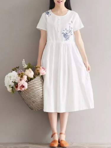Summer Women Floral Dress Cotton Linen Short Sleeve Floral Embroidery Elegant Midi Dress